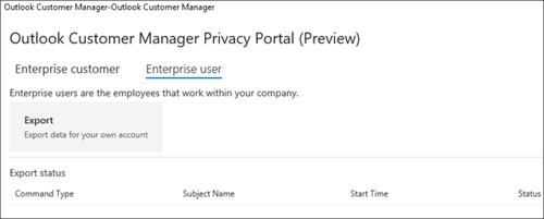 Screnshot: esportare i dati dei dipendenti di Outlook Customer Manager