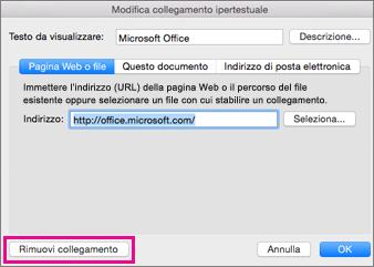 Rimuovi collegamento ipertestuale in Office per Mac