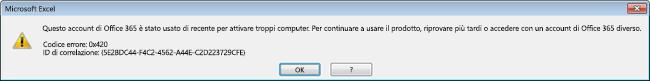 Messaggio relativo all'attivazione di troppi computer