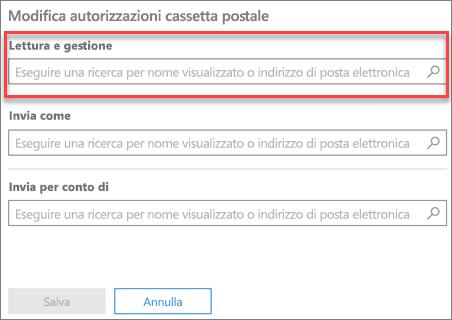 Schermata: Aggiungere utenti per leggere e gestire una cassetta postale dell'utente