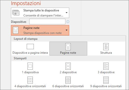 Screenshot dell'opzione di stampa di note