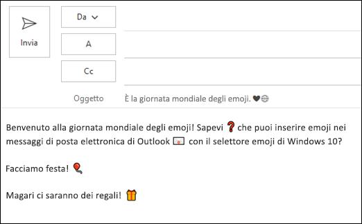 È possibile inserire uno o più emoji nel messaggio di posta elettronica.