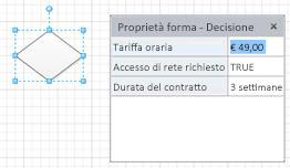 Forma Decisione con tre campi di forme e valori corrispondenti