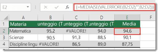 Funzione di matrice in MEDIA per risolvere l'errore #VALORE!