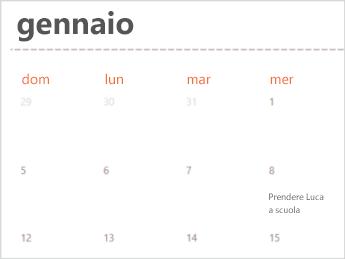 Modello di calendario in Excel Online