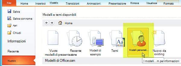 Nella scheda File sulla barra multifunzione selezionare Nuovo, quindi scegliere il pulsante Modelli personali.