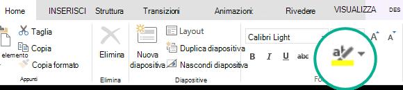 Il pulsante evidenziatore testo non è nella scheda Home della barra multifunzione di PowerPoint Online