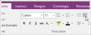 Screenshot del pulsante Aumenta rientro in OneNote 2016.