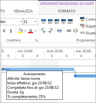 percentuale di completamento dell'attività visualizzata sulla barra
