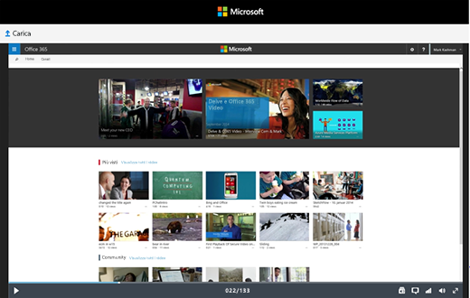 Pagina di visualizzazione di Office 365 Video