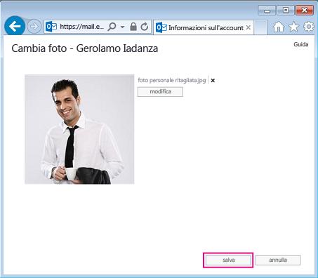 Schermata della finestra di dialogo Cambia immagine con l'opzione Salva evidenziata