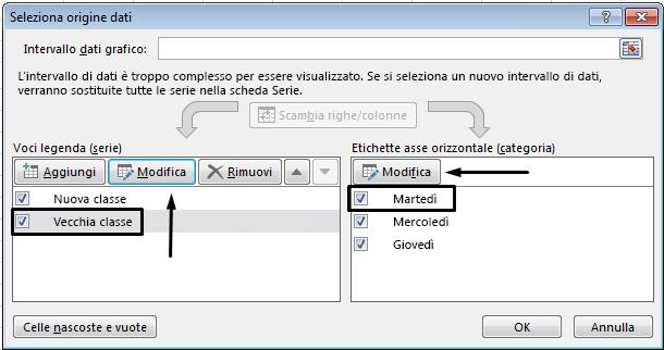 È possibile modificare il nome della legenda nella finestra di dialogo Seleziona origine dati.
