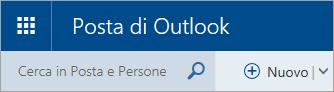 Screenshot dell'angolo in alto a sinistra della cassetta postale classica di Outlook.com