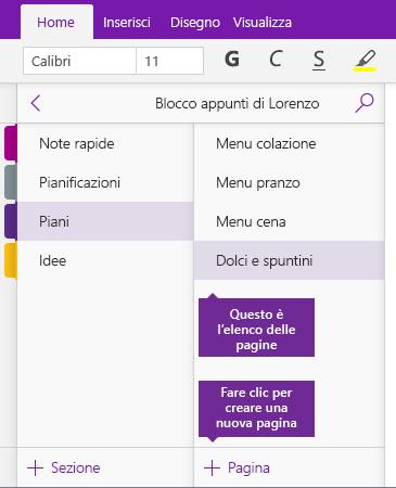 Schermata del pulsante Aggiungi pagina in OneNote