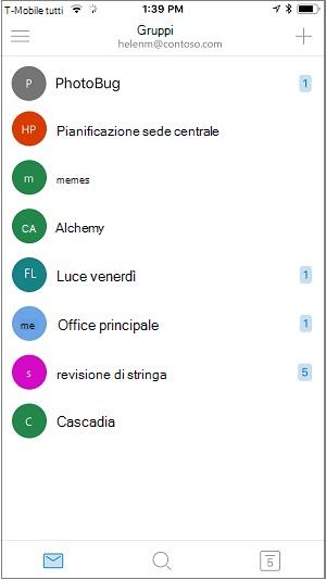 Schermata iniziale dell'app Gruppi per dispositivi mobili