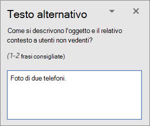 Esempio di testo alternativo non elaborato in Word per Windows.