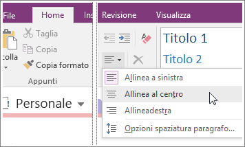 Screenshot del pulsante Allineamento paragrafo in OneNote 2016.