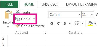 Fare clic su Copia nella scheda Home