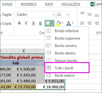 aggiungere un bordo a una tabella o a un intervallo di dati