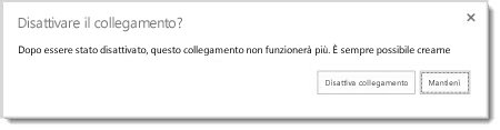 Finestra di dialogo in cui viene richiesto se si vuole disattivare il collegamento guest di un documento condiviso, in modo che non funzioni più.