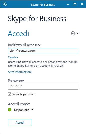 Screenshot della schermata di accesso a Skype for Business.
