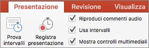 Screenshot che mostra la scheda Presentazione con le opzioni Prova intervalli e Registra presentazione, oltre alle caselle di controllo Riproduci commenti audio, Usa intervalli e Mostra controlli multimediali.