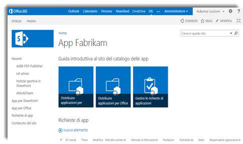 Schermata della home page di un sito Catalogo app.