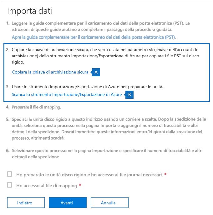 Copiare la chiave di archiviazione sicura e scaricare lo strumento Azure Importa Esporta nella pagina Importa dati