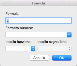 Aggiungere e modificare formule nella finestra di dialogo Formula.