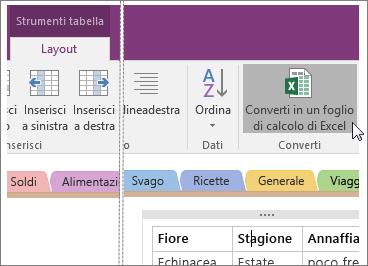 Screenshot del pulsante Converti in un foglio di calcolo di Excel in OneNote 2016.