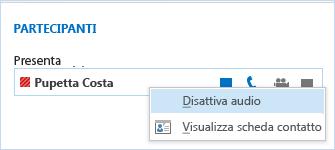 Disattivare l'audio per i singoli utenti