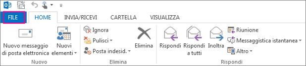 Aspetto della barra multifunzione della versione desktop di Outlook.