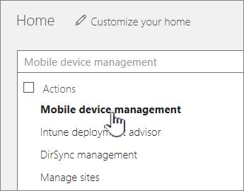 Digitare Mobile Device Manager nel campo di ricerca di Office 365