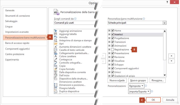 La scheda Personalizzazione barra multifunzione della finestra di dialogo Opzioni di PowerPoint 2016 ha un'opzione per aggiungere la scheda Registrazione alla barra multifunzione di PowerPoint.