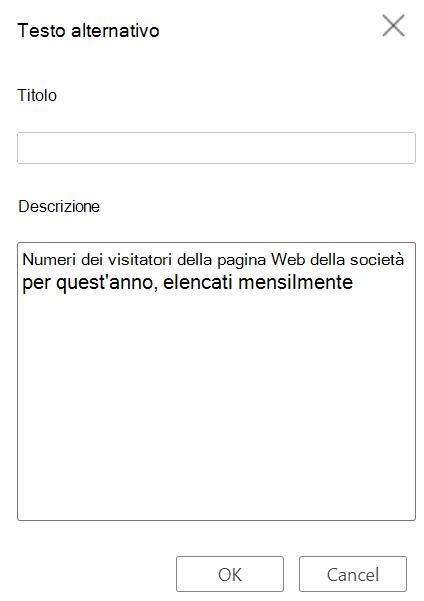 Finestra di dialogo Testo alternativo tabella in Word per il Web.