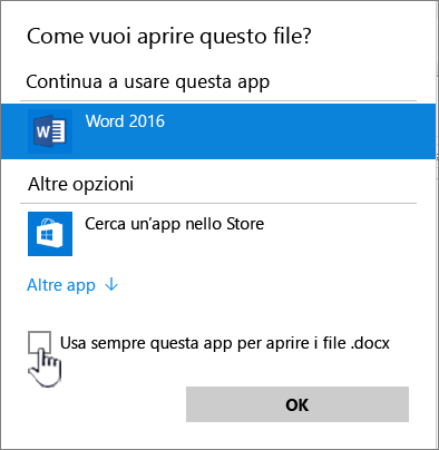 Finestra di dialogo Apri con di Windows