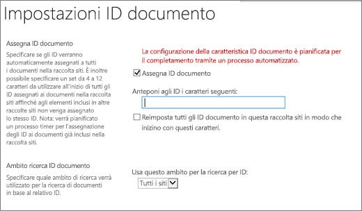 Assegnazione di ID documento nella pagina Impostazioni ID documento