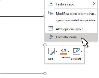 Voce di menu Formato forma selezionata