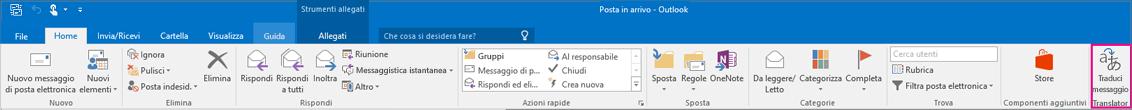 Barra multifunzione di Outlook 2016 con il pulsante Traduci messaggio evidenziato