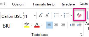 Icona Cancella tutta la formattazione evidenziata nella scheda messaggio