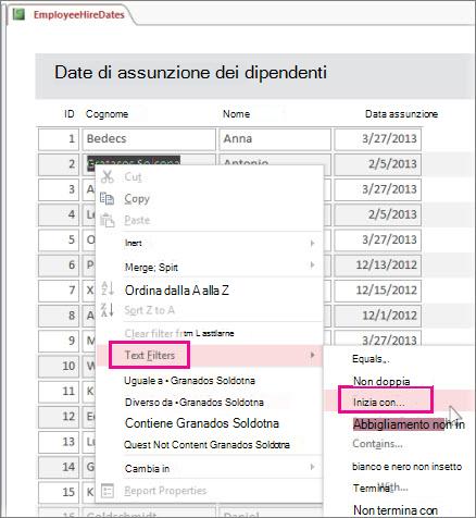 Applicazione di un filtro in un report facendo clic con il pulsante destro del mouse su un valore in visualizzazione report.