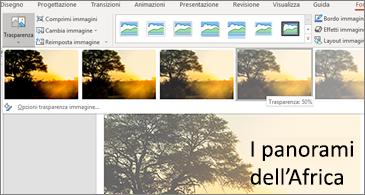 Diapositiva con opzioni trasparenza nella scheda Formato