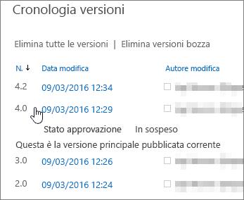 Cronologia versioni con una versione secondaria eliminata