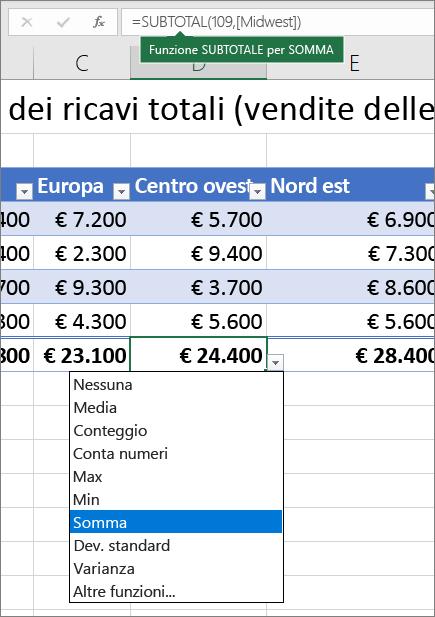 Esempio di selezione di una formula Riga Totale dall'elenco a discesa delle formule riga Totale