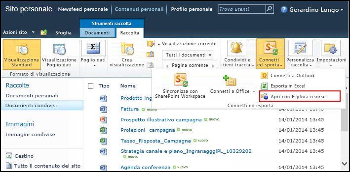 Cartella Documenti condivisi di SharePoint 2010, opzione Apri con Esplora risorse