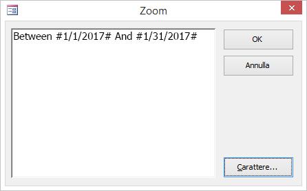 espressione nella finestra di dialogo zoom