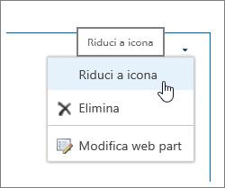 Menu web part con Riduci a icona evidenziato
