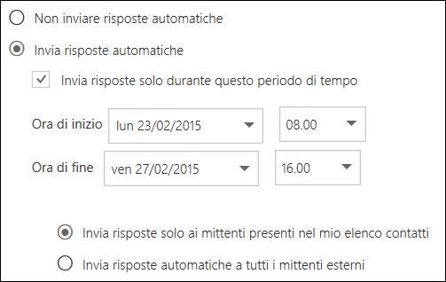 Impostazione dell'ora nel sistema di risposta automatica di Outlook sul Web