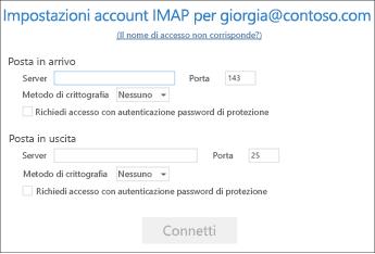 Immettere le informazioni sui server di posta elettronica