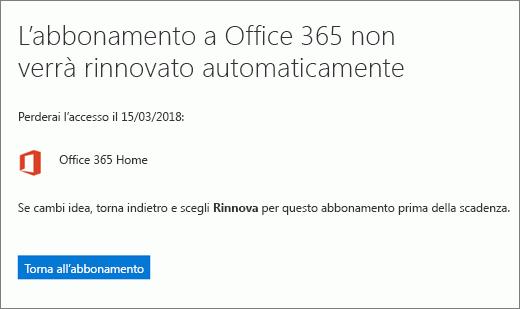 Screenshot della pagina di conferma visualizzata quando si annulla un abbonamento a Office 365 per utenti privati.